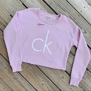 Calvin Klein Distressed Crop Sweater